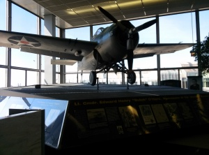 """An airplane as part of a monument dedicated to Lt. Cmdr. Edward Henry """"Butch"""" O'Hare."""